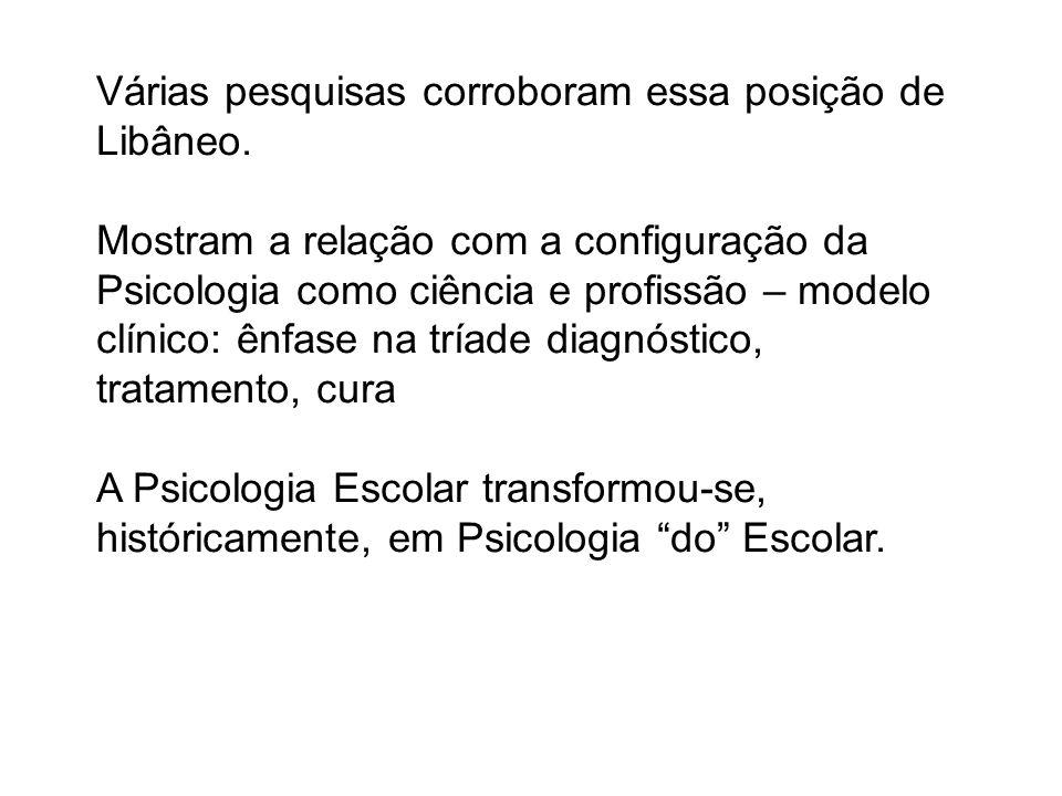 Várias pesquisas corroboram essa posição de Libâneo. Mostram a relação com a configuração da Psicologia como ciência e profissão – modelo clínico: ênf