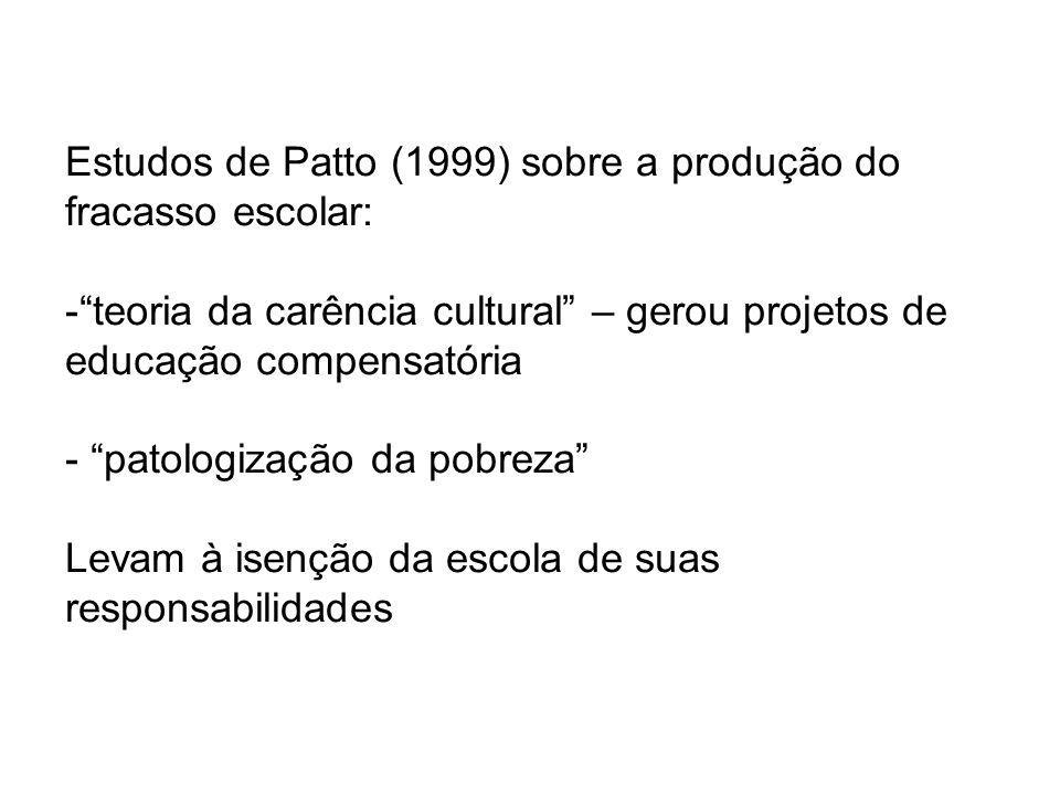 Estudos de Patto (1999) sobre a produção do fracasso escolar: -teoria da carência cultural – gerou projetos de educação compensatória - patologização