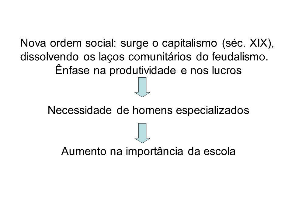Nova ordem social: surge o capitalismo (séc. XIX), dissolvendo os laços comunitários do feudalismo. Ênfase na produtividade e nos lucros Necessidade d