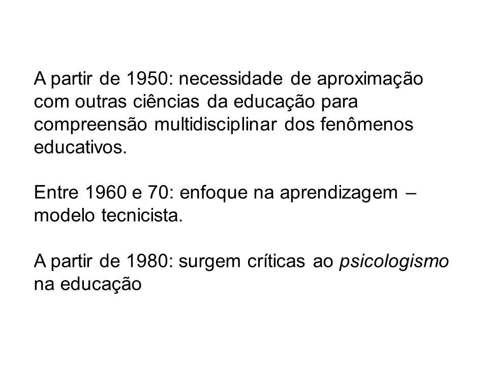 A partir de 1950: necessidade de aproximação com outras ciências da educação para compreensão multidisciplinar dos fenômenos educativos. Entre 1960 e