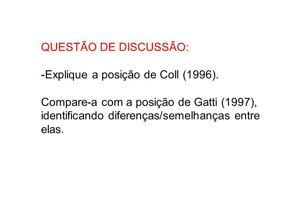 QUESTÃO DE DISCUSSÃO: -Explique a posição de Coll (1996). Compare-a com a posição de Gatti (1997), identificando diferenças/semelhanças entre elas.