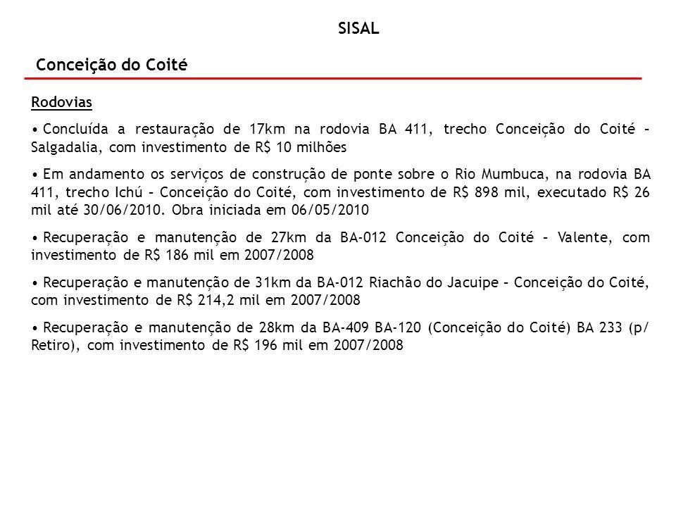 Conceição do Coité Rodovias Concluída a restauração de 17km na rodovia BA 411, trecho Conceição do Coité – Salgadalia, com investimento de R$ 10 milhões Em andamento os serviços de construção de ponte sobre o Rio Mumbuca, na rodovia BA 411, trecho Ichú – Conceição do Coité, com investimento de R$ 898 mil, executado R$ 26 mil até 30/06/2010.
