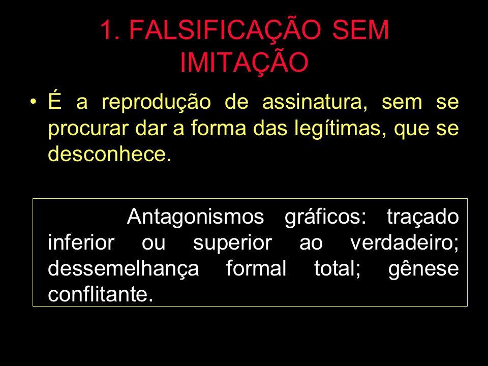 1. FALSIFICAÇÃO SEM IMITAÇÃO É a reprodução de assinatura, sem se procurar dar a forma das legítimas, que se desconhece. Antagonismos gráficos: traçad