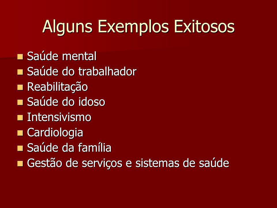Alguns Exemplos Exitosos Saúde mental Saúde mental Saúde do trabalhador Saúde do trabalhador Reabilitação Reabilitação Saúde do idoso Saúde do idoso I