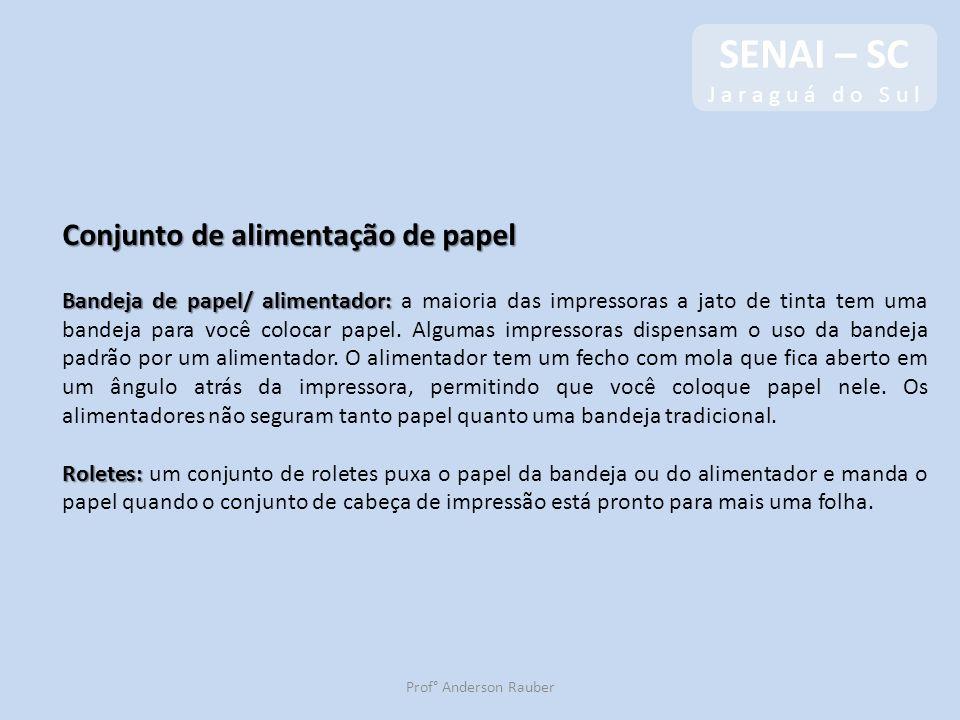 SENAI – SC J a r a g u á d o S u l SENAI – SC J a r a g u á d o S u l Prof° Anderson Rauber Conjunto de alimentação de papel Bandeja de papel/ aliment