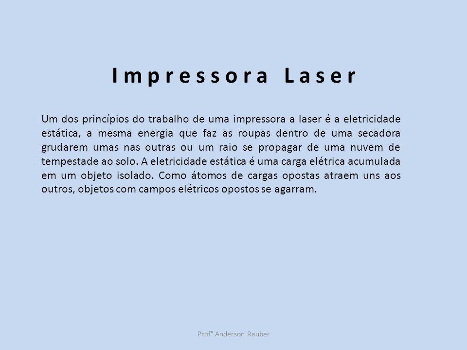 Prof° Anderson Rauber I m p r e s s o r a L a s e r Um dos princípios do trabalho de uma impressora a laser é a eletricidade estática, a mesma energia