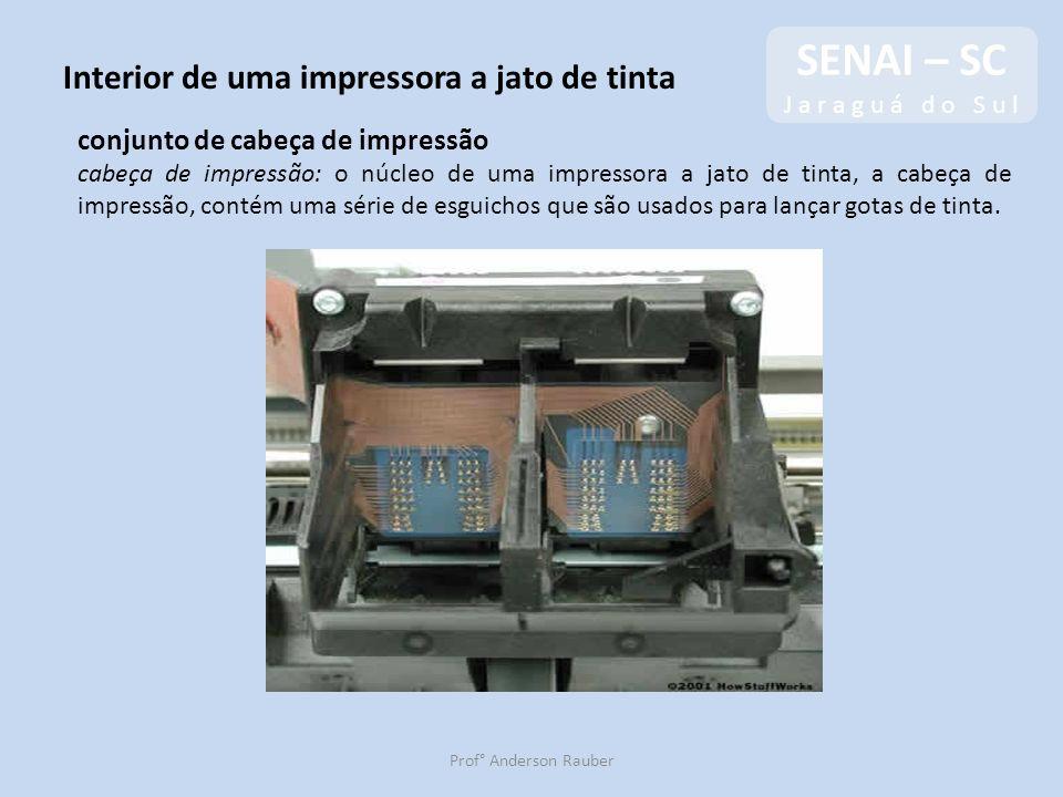 SENAI – SC J a r a g u á d o S u l SENAI – SC J a r a g u á d o S u l Prof° Anderson Rauber Interior de uma impressora a jato de tinta conjunto de cab