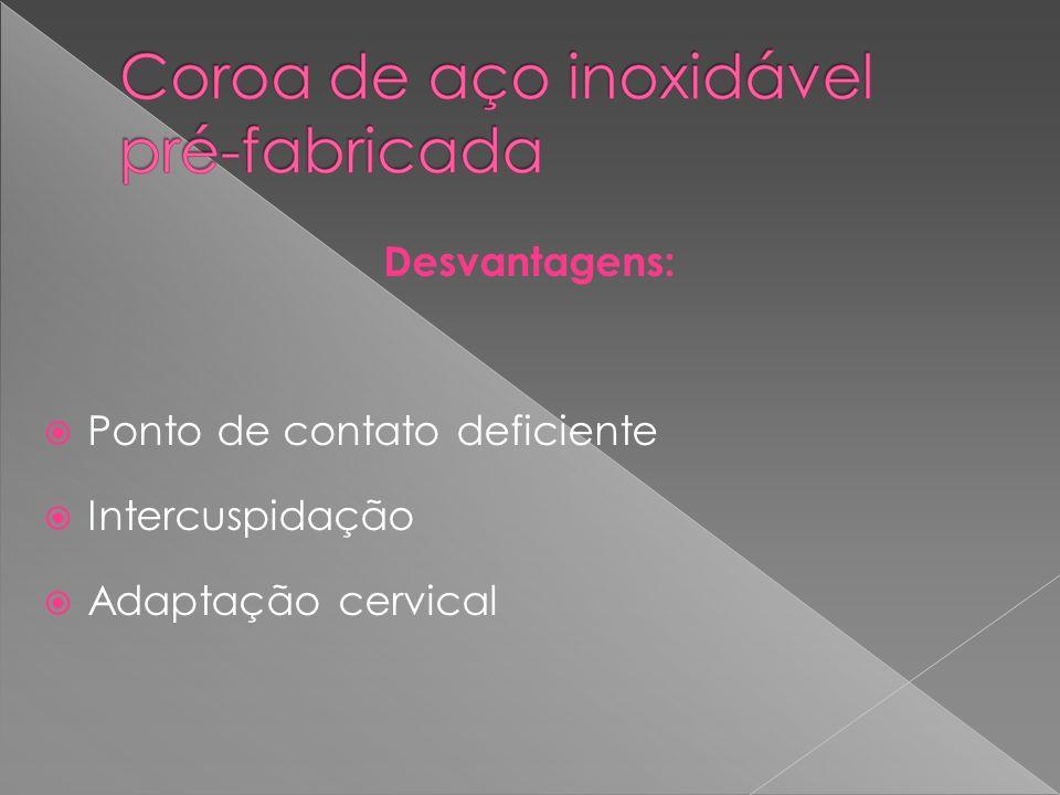 Desvantagens: Ponto de contato deficiente Intercuspidação Adaptação cervical