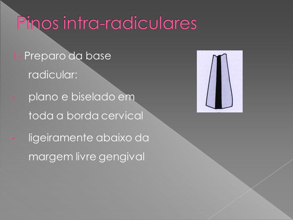 1- Preparo da base radicular: plano e biselado em toda a borda cervical ligeiramente abaixo da margem livre gengival