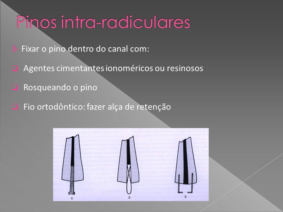 3- Fixar o pino dentro do canal com: Agentes cimentantes ionoméricos ou resinosos Rosqueando o pino Fio ortodôntico: fazer alça de retenção
