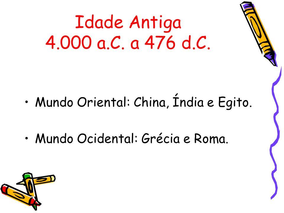 Idade Antiga 4.000 a.C. a 476 d.C. Mundo Oriental: China, Índia e Egito. Mundo Ocidental: Grécia e Roma.