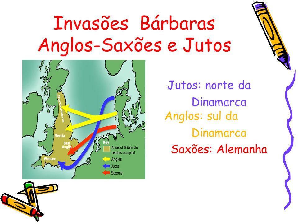 Invasões Bárbaras Anglos-Saxões e Jutos Jutos: norte da Dinamarca Anglos: sul da Dinamarca Saxões: Alemanha