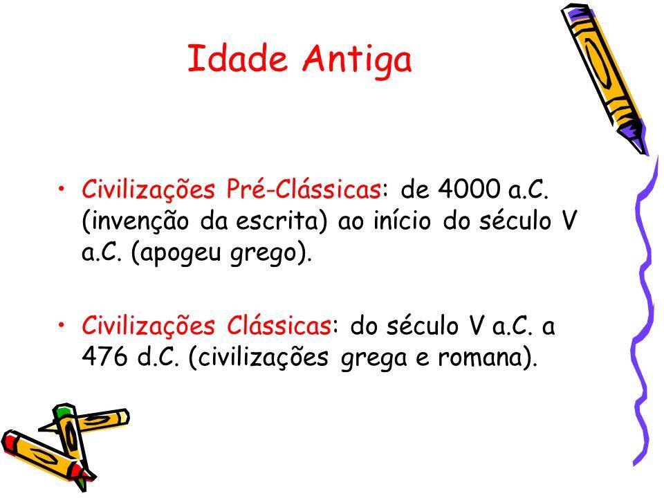 Idade Antiga Civilizações Pré-Clássicas: de 4000 a.C. (invenção da escrita) ao início do século V a.C. (apogeu grego). Civilizações Clássicas: do sécu