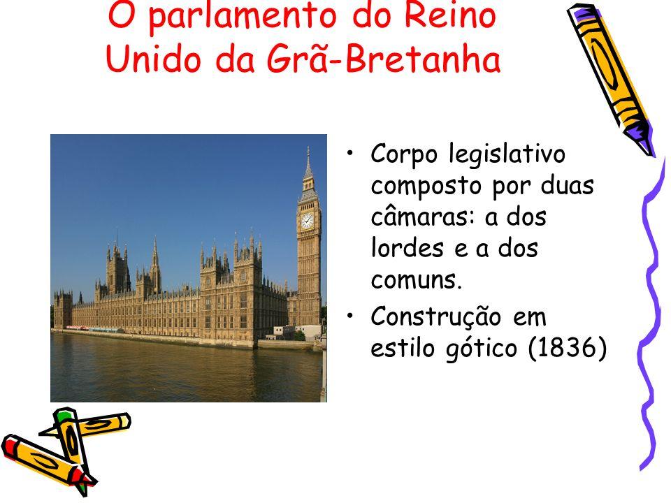 O parlamento do Reino Unido da Grã-Bretanha Corpo legislativo composto por duas câmaras: a dos lordes e a dos comuns. Construção em estilo gótico (183