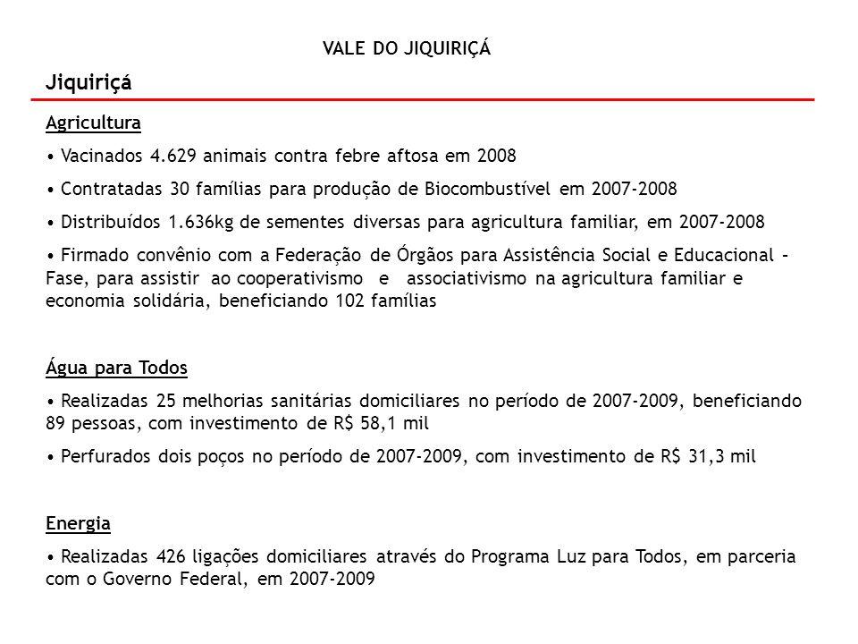 VALE DO JIQUIRIÇA VALE DO JIQUIRIÇÁ Jiquiriçá Agricultura Vacinados 4.629 animais contra febre aftosa em 2008 Contratadas 30 famílias para produção de Biocombustível em 2007-2008 Distribuídos 1.636kg de sementes diversas para agricultura familiar, em 2007-2008 Firmado convênio com a Federação de Órgãos para Assistência Social e Educacional – Fase, para assistir ao cooperativismo e associativismo na agricultura familiar e economia solidária, beneficiando 102 famílias Água para Todos Realizadas 25 melhorias sanitárias domiciliares no período de 2007-2009, beneficiando 89 pessoas, com investimento de R$ 58,1 mil Perfurados dois poços no período de 2007-2009, com investimento de R$ 31,3 mil Energia Realizadas 426 ligações domiciliares através do Programa Luz para Todos, em parceria com o Governo Federal, em 2007-2009