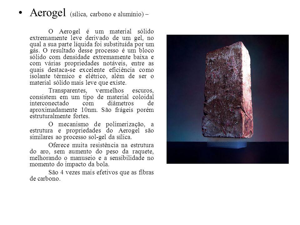 Aerogel (sílica, carbono e alumínio) – O Aerogel é um material sólido extremamente leve derivado de um gel, no qual a sua parte líquida foi substituíd