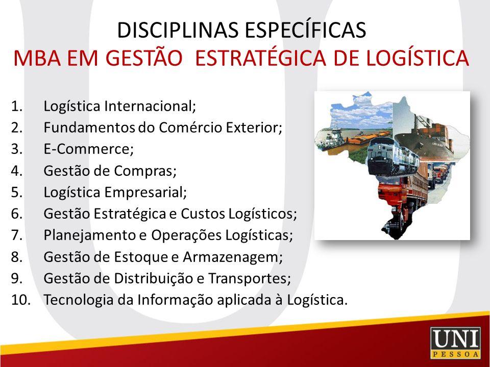 DISCIPLINAS ESPECÍFICAS MBA EM GESTÃO ESTRATÉGICA DE LOGÍSTICA 1.Logística Internacional; 2.Fundamentos do Comércio Exterior; 3.E-Commerce; 4.Gestão d