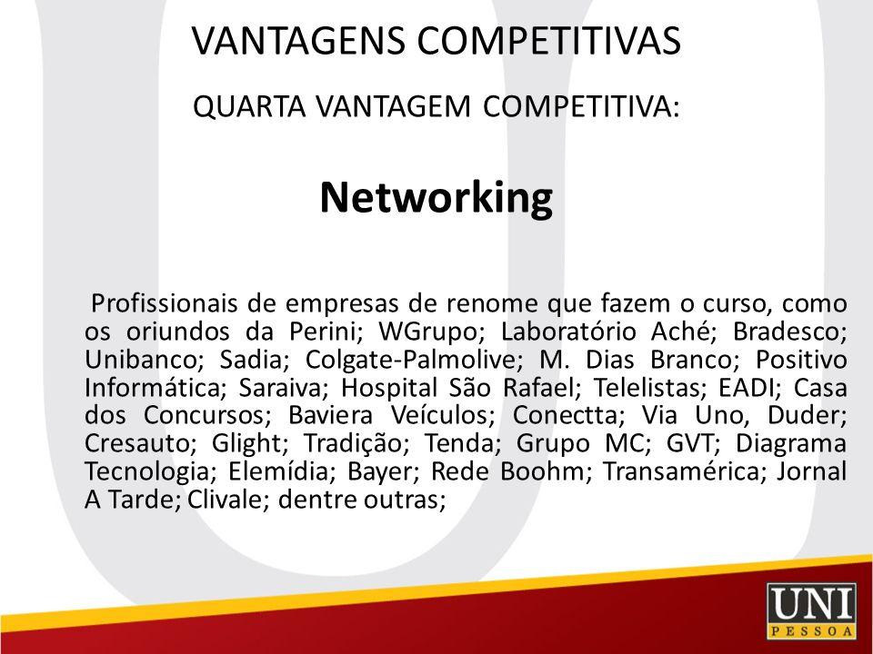 VANTAGENS COMPETITIVAS QUARTA VANTAGEM COMPETITIVA: Networking Profissionais de empresas de renome que fazem o curso, como os oriundos da Perini; WGru
