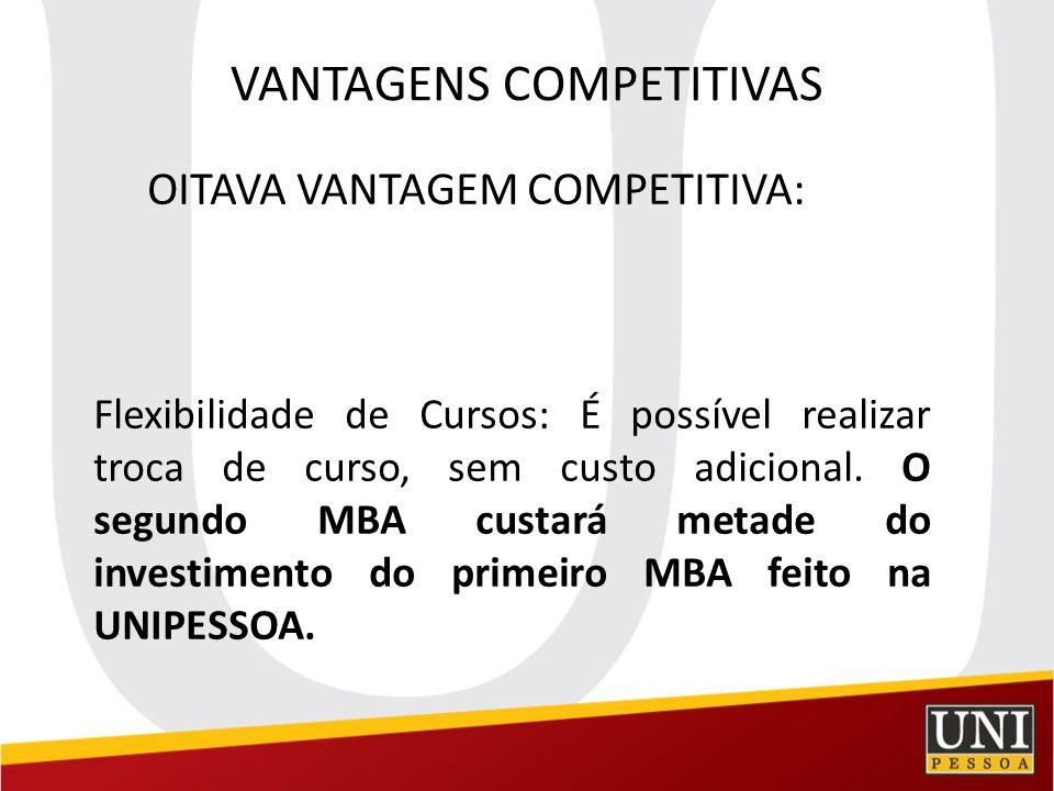 VANTAGENS COMPETITIVAS OITAVA VANTAGEM COMPETITIVA: Flexibilidade de Cursos: É possível realizar troca de curso, sem custo adicional. O segundo MBA cu
