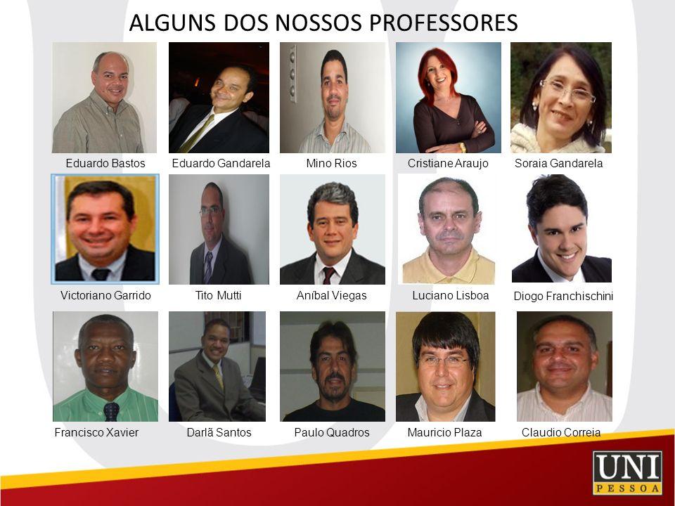 ALGUNS DOS NOSSOS PROFESSORES Eduardo BastosEduardo GandarelaMino RiosCristiane AraujoSoraia Gandarela Diogo Franchischini Victoriano GarridoTito Mutt