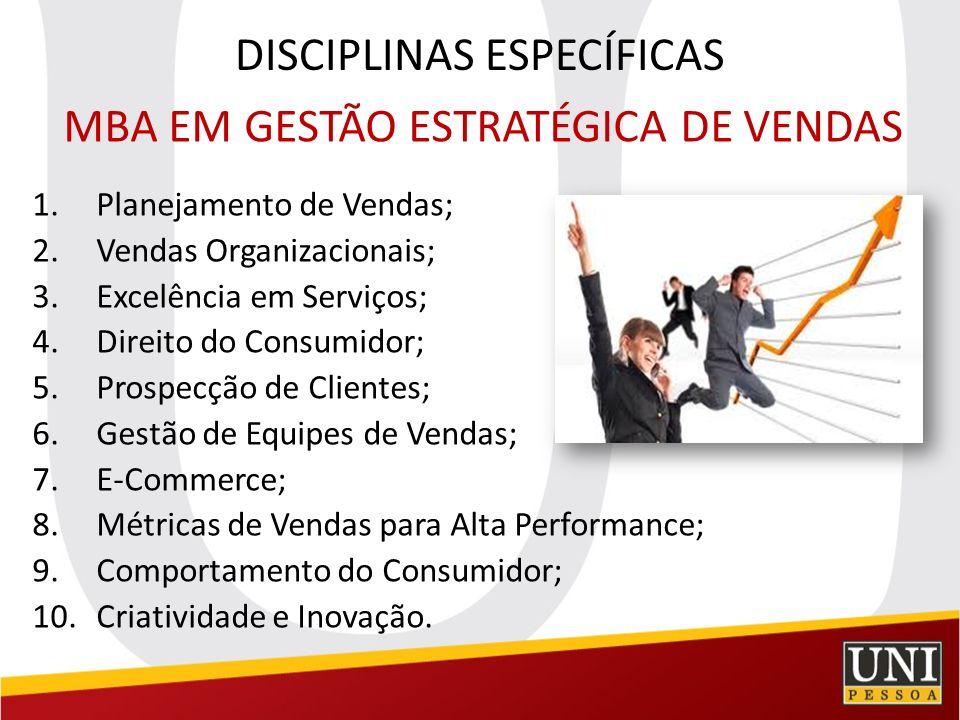 DISCIPLINAS ESPECÍFICAS MBA em Gestão Estratégica de Pessoas e Aprendizagem Organizacional 1.Criatividade e Inovação; 2.Psicologia Organizacional; 3.Gestão Estratégica de Pessoas; 4.Gestão por Competências; 5.Excelência em Serviços; 6.Psicologia do Consumidor; 7.Treinamento e Desenvolvimento; 8.Direito para Gestão de Pessoas; 9.Responsabilidade Sócio-Ambiental; 10.Planejamento Estratégico.