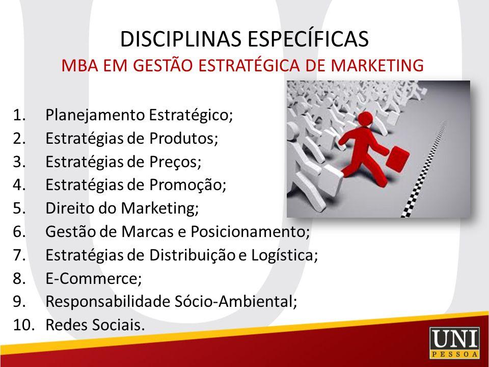 DISCIPLINAS ESPECÍFICAS MBA EM GESTÃO ESTRATÉGICA DE MARKETING 1.Planejamento Estratégico; 2.Estratégias de Produtos; 3.Estratégias de Preços; 4.Estra