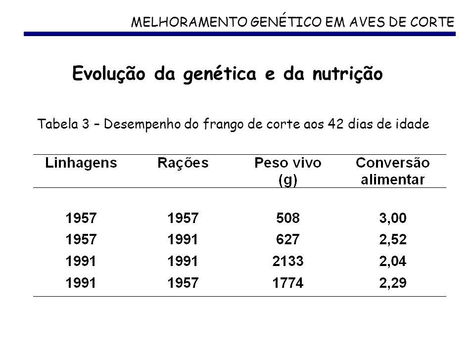 MELHORAMENTO GENÉTICO EM AVES DE CORTE Tabela 3 – Desempenho do frango de corte aos 42 dias de idade Evolução da genética e da nutrição