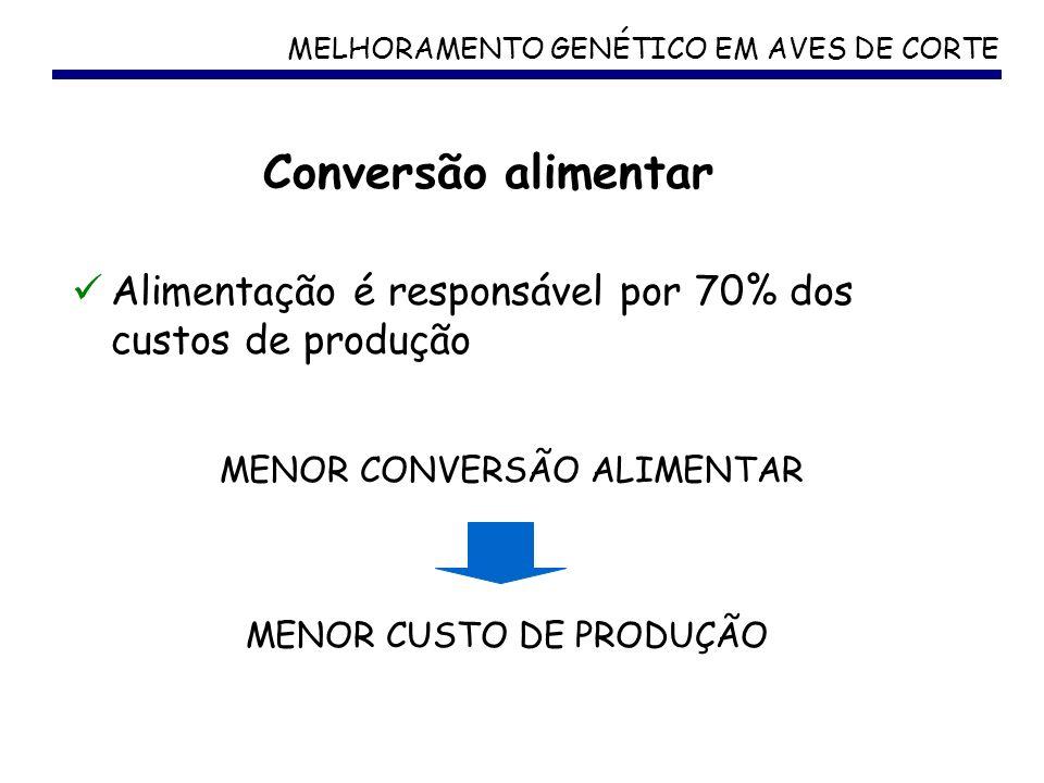 MELHORAMENTO GENÉTICO EM AVES DE CORTE Alimentação é responsável por 70% dos custos de produção Conversão alimentar MENOR CONVERSÃO ALIMENTAR MENOR CU