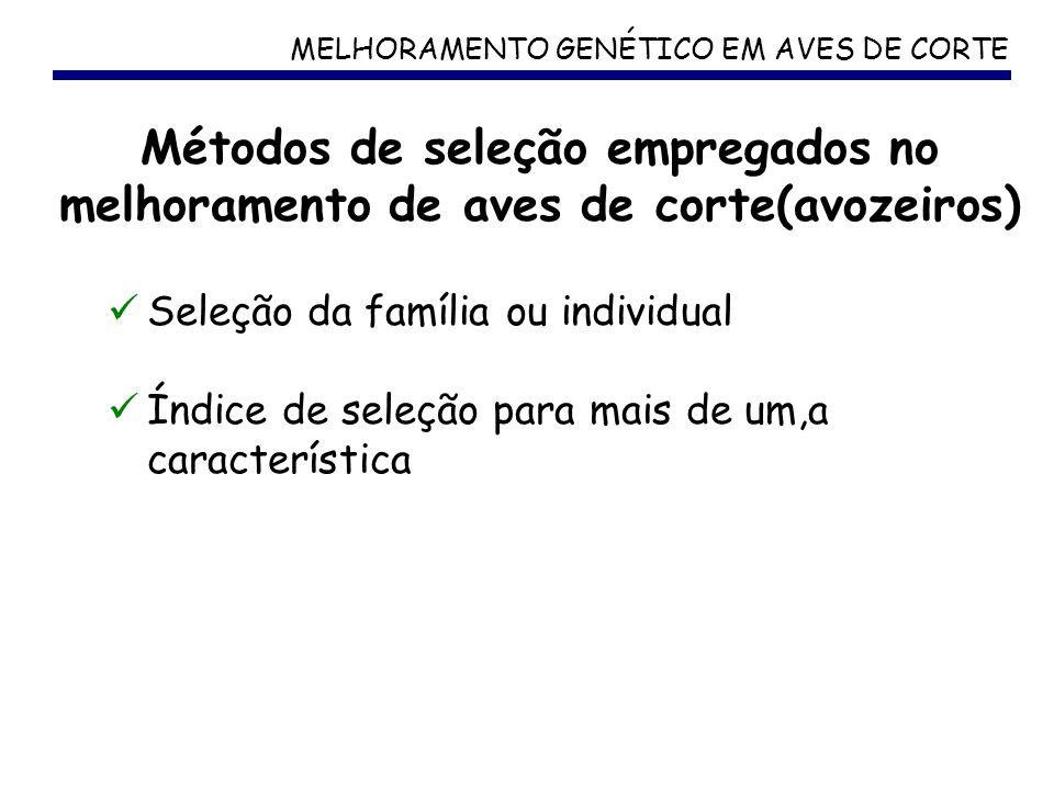 MELHORAMENTO GENÉTICO EM AVES DE CORTE Seleção da família ou individual Índice de seleção para mais de um,a característica Métodos de seleção empregad