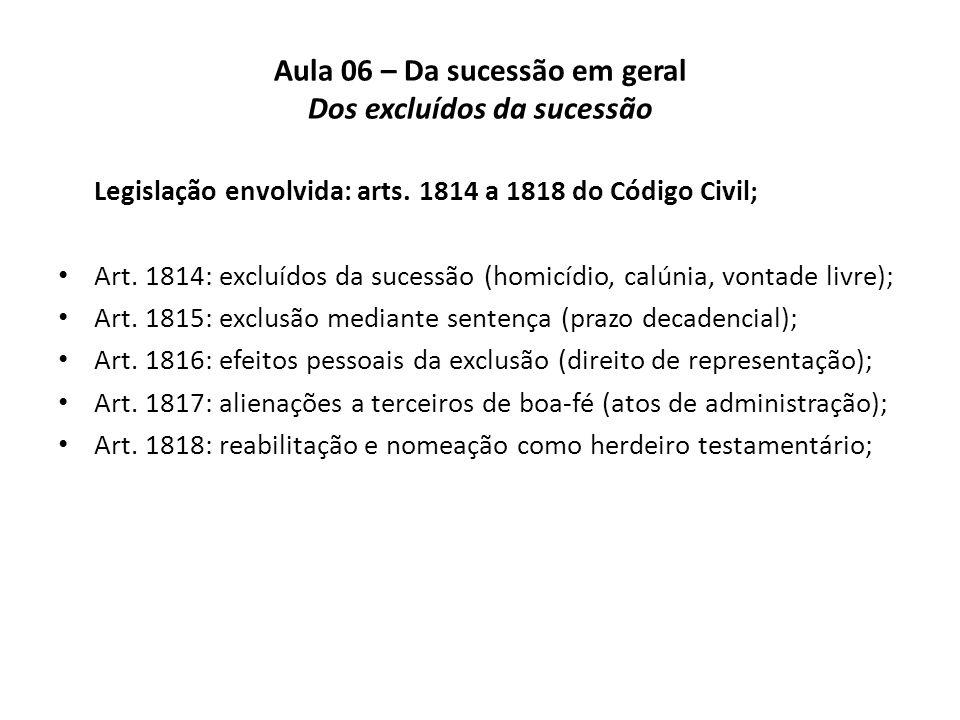 Aula 06 – Da sucessão em geral Dos excluídos da sucessão Legislação envolvida: arts. 1814 a 1818 do Código Civil; Art. 1814: excluídos da sucessão (ho