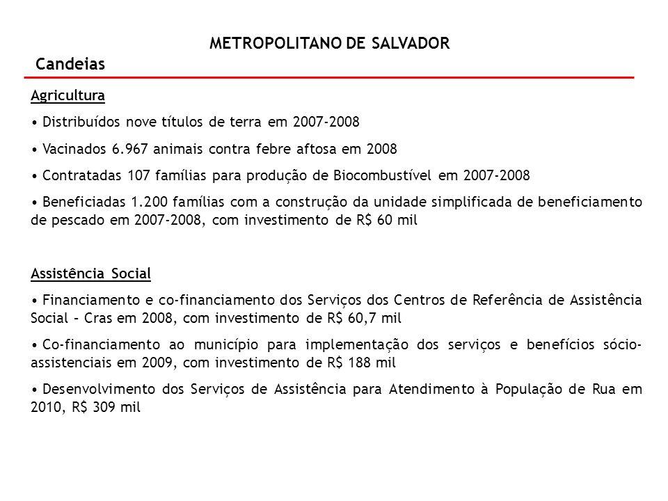 METROPOLITANO DE SALVADOR Candeias Agricultura Distribuídos nove títulos de terra em 2007-2008 Vacinados 6.967 animais contra febre aftosa em 2008 Con