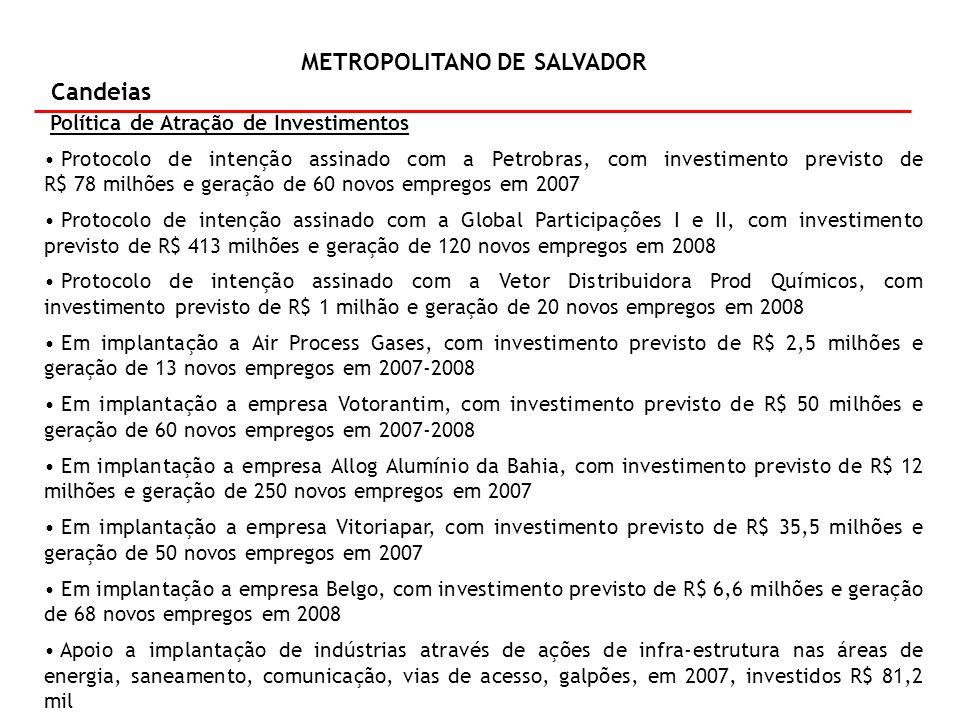 METROPOLITANO DE SALVADOR Candeias Política de Atração de Investimentos Protocolo de intenção assinado com a Petrobras, com investimento previsto de R$ 78 milhões e geração de 60 novos empregos em 2007 Protocolo de intenção assinado com a Global Participações I e II, com investimento previsto de R$ 413 milhões e geração de 120 novos empregos em 2008 Protocolo de intenção assinado com a Vetor Distribuidora Prod Químicos, com investimento previsto de R$ 1 milhão e geração de 20 novos empregos em 2008 Em implantação a Air Process Gases, com investimento previsto de R$ 2,5 milhões e geração de 13 novos empregos em 2007-2008 Em implantação a empresa Votorantim, com investimento previsto de R$ 50 milhões e geração de 60 novos empregos em 2007-2008 Em implantação a empresa Allog Alumínio da Bahia, com investimento previsto de R$ 12 milhões e geração de 250 novos empregos em 2007 Em implantação a empresa Vitoriapar, com investimento previsto de R$ 35,5 milhões e geração de 50 novos empregos em 2007 Em implantação a empresa Belgo, com investimento previsto de R$ 6,6 milhões e geração de 68 novos empregos em 2008 Apoio a implantação de indústrias através de ações de infra-estrutura nas áreas de energia, saneamento, comunicação, vias de acesso, galpões, em 2007, investidos R$ 81,2 mil