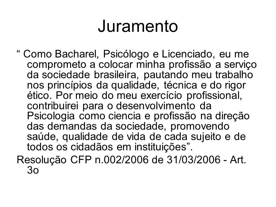 Juramento Como Bacharel, Psicólogo e Licenciado, eu me comprometo a colocar minha profissão a serviço da sociedade brasileira, pautando meu trabalho n