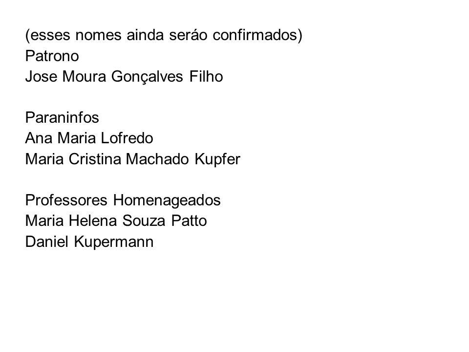 (esses nomes ainda seráo confirmados) Patrono Jose Moura Gonçalves Filho Paraninfos Ana Maria Lofredo Maria Cristina Machado Kupfer Professores Homena