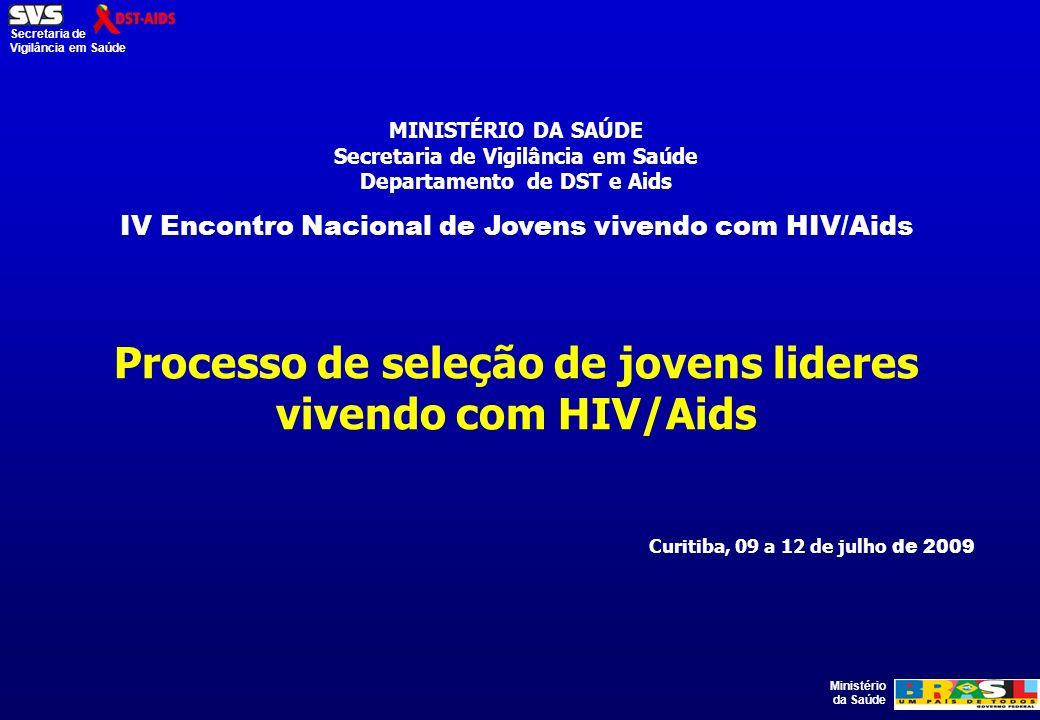 Ministério da Saúde Secretaria de Vigilância em Saúde MINISTÉRIO DA SAÚDE Secretaria de Vigilância em Saúde Departamento de DST e Aids IV Encontro Nacional de Jovens vivendo com HIV/Aids Processo de seleção de jovens lideres vivendo com HIV/Aids Curitiba, 09 a 12 de julho de 2009