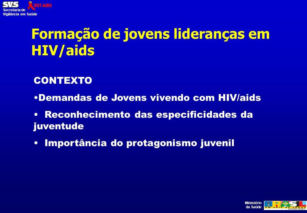 Ministério da Saúde Secretaria de Vigilância em Saúde CONTEXTO Demandas de Jovens vivendo com HIV/aids Reconhecimento das especificidades da juventude Importância do protagonismo juvenil Formação de jovens lideranças em HIV/aids