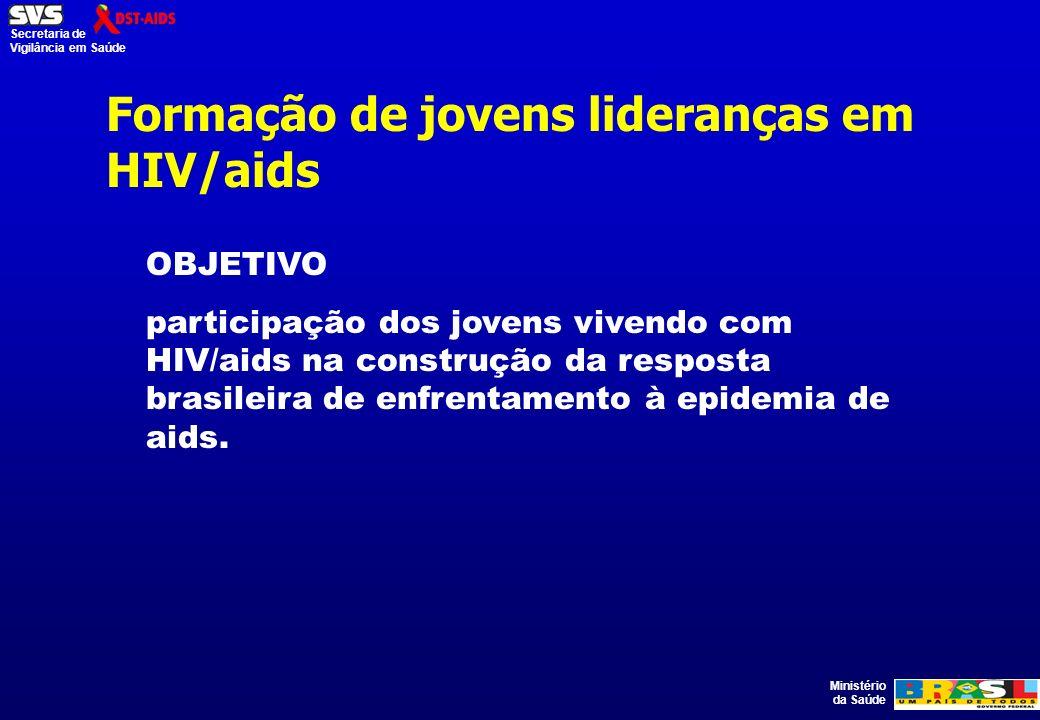 Ministério da Saúde Secretaria de Vigilância em Saúde Formação de jovens lideranças em HIV/aids OBJETIVO participação dos jovens vivendo com HIV/aids na construção da resposta brasileira de enfrentamento à epidemia de aids.