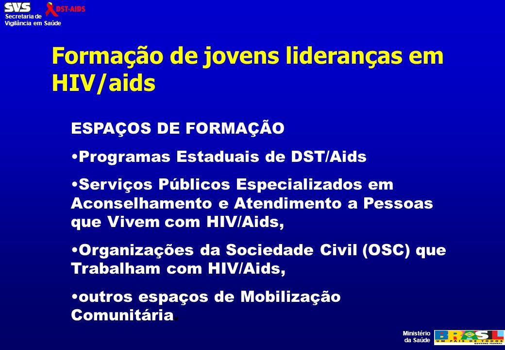 Ministério da Saúde Secretaria de Vigilância em Saúde Formação de jovens lideranças em HIV/aids ESPAÇOS DE FORMAÇÃO Programas Estaduais de DST/Aids Serviços Públicos Especializados em Aconselhamento e Atendimento a Pessoas que Vivem com HIV/Aids, Organizações da Sociedade Civil (OSC) que Trabalham com HIV/Aids, outros espaços de Mobilização Comunitária.