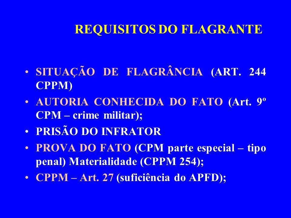 SITUAÇÃO DE FLAGRÂNCIA (ART. 244 CPPM) AUTORIA CONHECIDA DO FATO (Art. 9º CPM – crime militar); PRISÃO DO INFRATOR PROVA DO FATO (CPM parte especial –