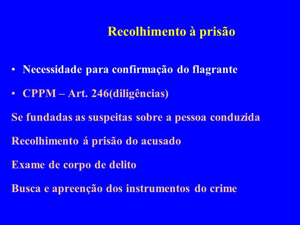 Necessidade para confirmação do flagrante CPPM – Art. 246(diligências) Se fundadas as suspeitas sobre a pessoa conduzida Recolhimento á prisão do acus