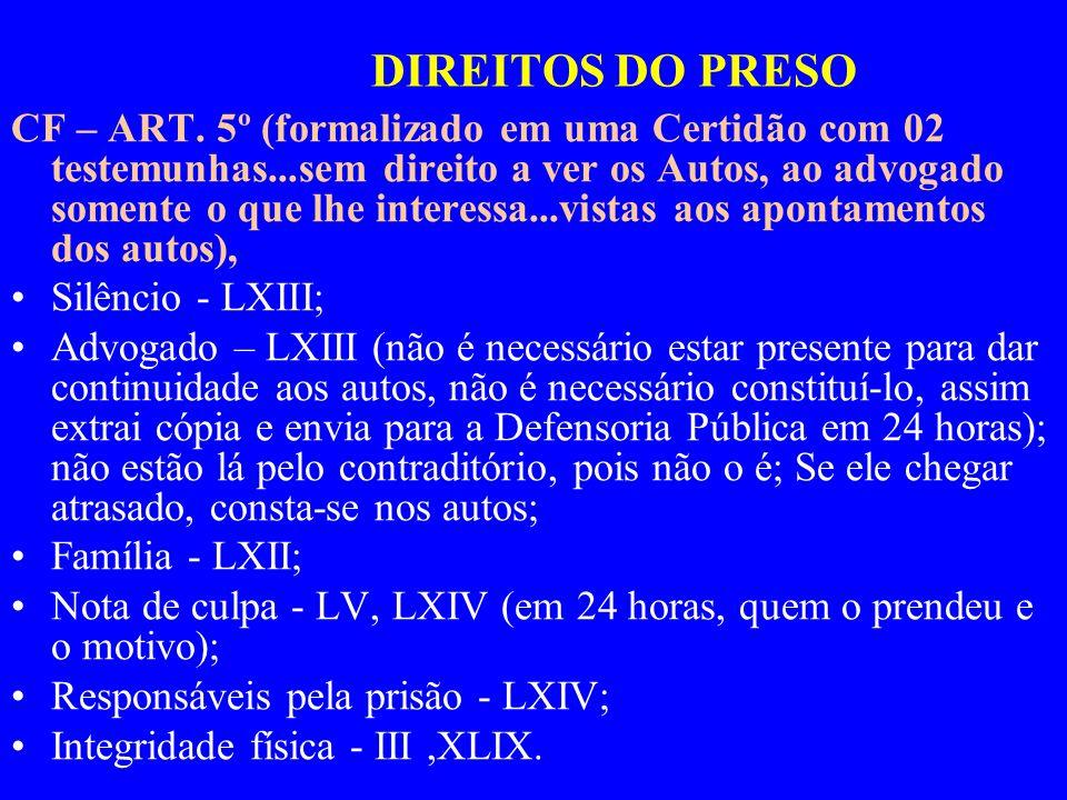 DIREITOS DO PRESO CF – ART. 5º (formalizado em uma Certidão com 02 testemunhas...sem direito a ver os Autos, ao advogado somente o que lhe interessa..