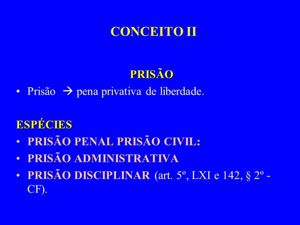 PRISÃO Prisão pena privativa de liberdade.ESPÉCIES PRISÃO PENAL PRISÃO CIVIL: PRISÃO ADMINISTRATIVA PRISÃO DISCIPLINAR (art. 5º, LXI e 142, § 2º - CF)