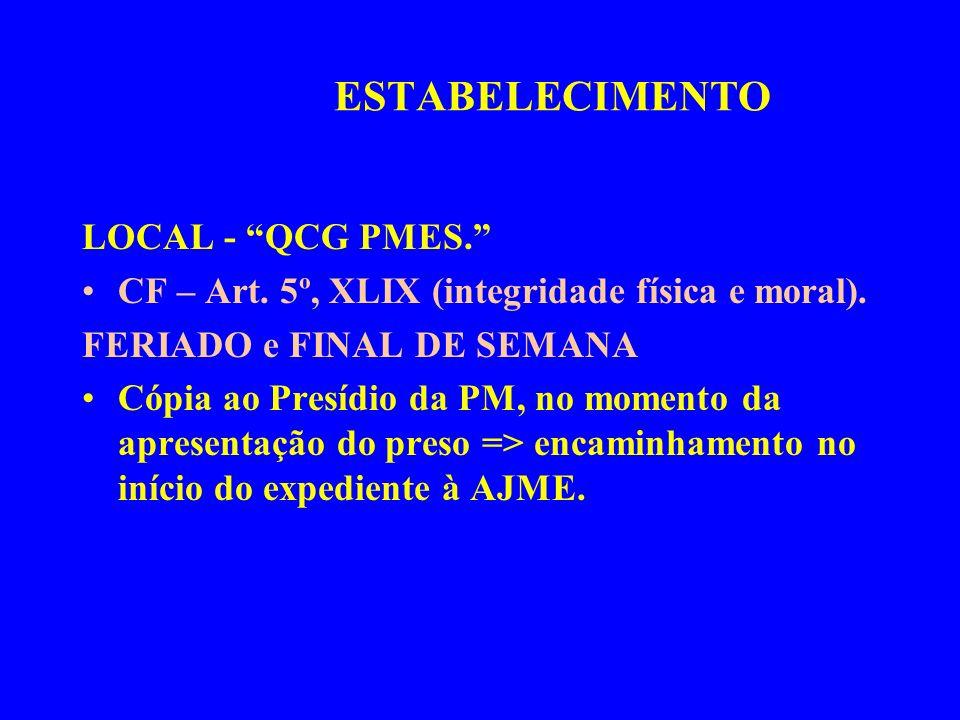 LOCAL - QCG PMES. CF – Art. 5º, XLIX (integridade física e moral). FERIADO e FINAL DE SEMANA Cópia ao Presídio da PM, no momento da apresentação do pr