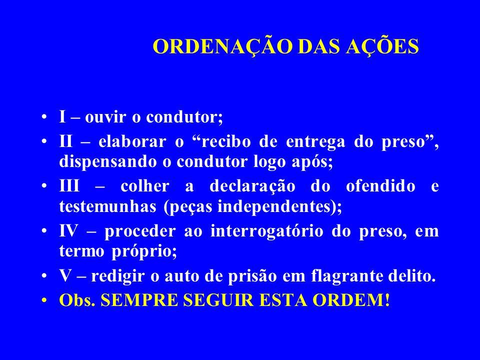 ORDENAÇÃO DAS AÇÕES I – ouvir o condutor; II – elaborar o recibo de entrega do preso, dispensando o condutor logo após; III – colher a declaração do o