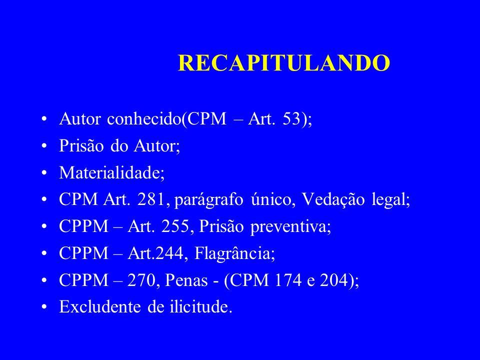 RECAPITULANDO Autor conhecido(CPM – Art. 53); Prisão do Autor; Materialidade; CPM Art. 281, parágrafo único, Vedação legal; CPPM – Art. 255, Prisão pr