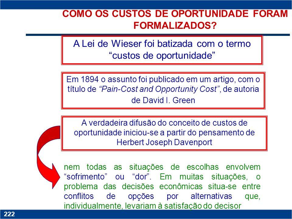 Copyright © 2006 by Pearson Education 15-221 221... DAÍ O SURGIMENTO DOS CUSTOS DE OPORTUNIDADE A Lei de Wieser o custo dos produtos é determinado pel