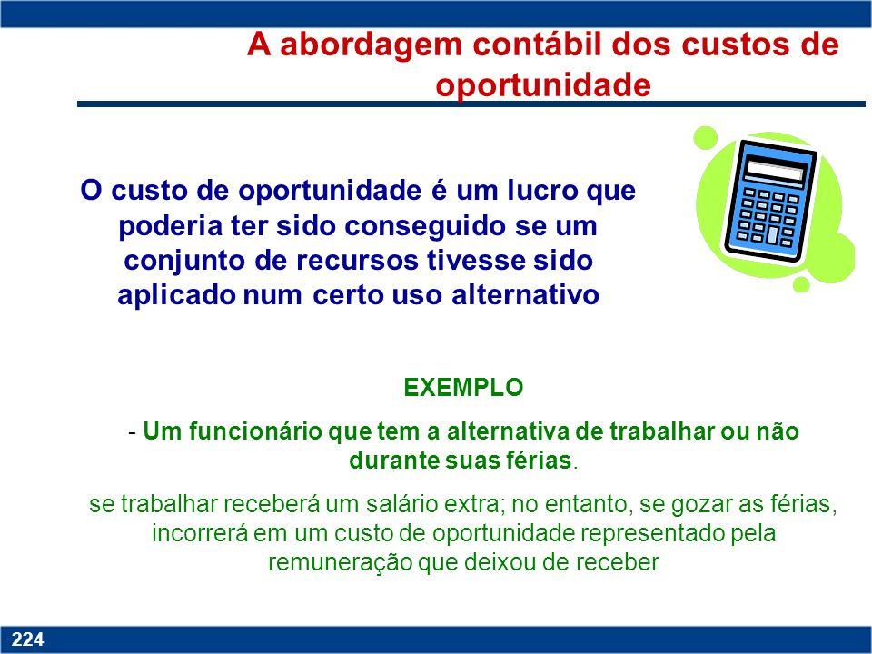 Copyright © 2006 by Pearson Education 15-223 223 CUSTOS DE OPORTUNIDADE os benefícios (monetários ou outros) abandonados pela não escolha do melhor cu