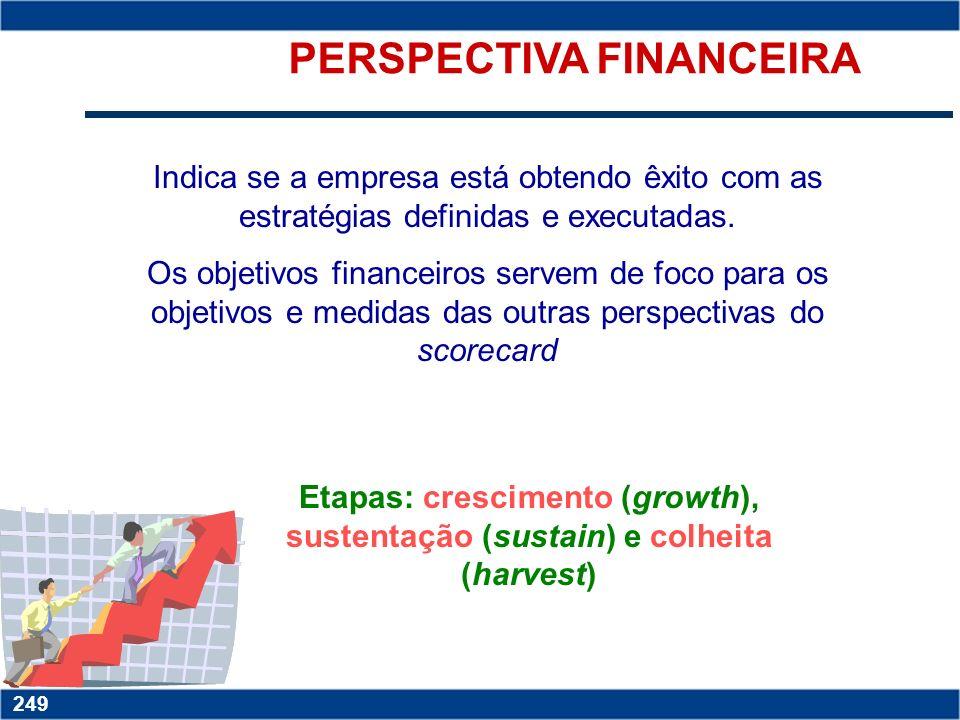 Copyright © 2006 by Pearson Education 15-249 249 PERSPECTIVA FINANCEIRA Indica se a empresa está obtendo êxito com as estratégias definidas e executadas.