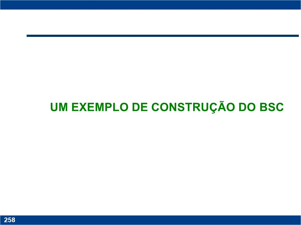 Copyright © 2006 by Pearson Education 15-257 257 DESDOBRAMENTO DAS ETAPAS DE CONSTRUÇÃO DO BSC