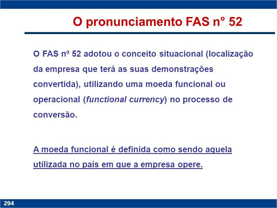 Copyright © 2006 by Pearson Education 15-293 293 O pronunciamento FAS n° 52 As demonstrações financeiras convertidas segundo o